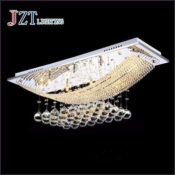 Z L100x W25 x H60cm modern led crystal lamp Rectangular living room light Hall droplight bedroom chandelier restaurant lights