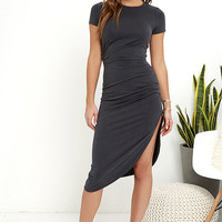 Capital City Charcoal Grey Midi Wrap Dress