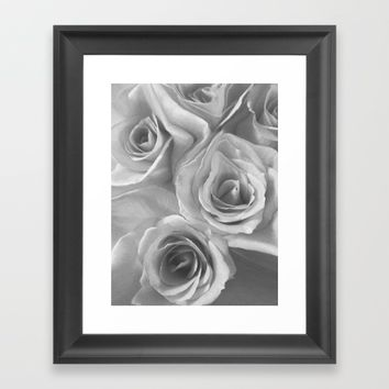 Roses in Black and White Framed Art Print by Jennifer Warmuth Art And Design