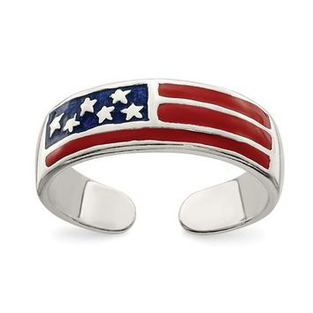 Sterling Silver 5mm Wide Enameled American Flag Toe Ring
