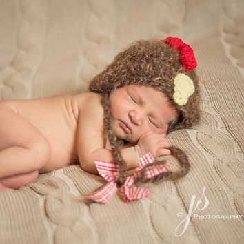 Rooster Hat, Bonnet, Photo Props, Photography Props, Rooster, Brown Rooster Hat, Newborn Rooster Hat, Farm, Country, Country Rooster Hat