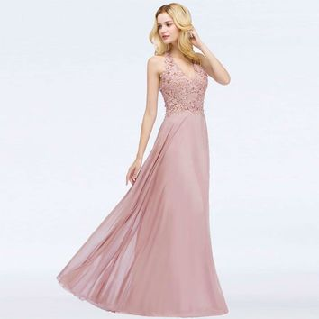 Long pink Long Bridesmaid Dresses A-Line Deep V Neck Sleeveless wedding party prom dresses