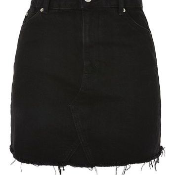 PETITE Straight Seam Raw Hem Skirt | Topshop