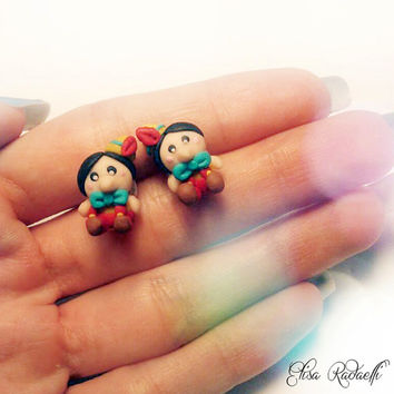 pinocchio stud earrings - polymer clay