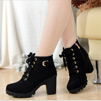 High heel boots women ankle 2016 fashion winter Women boots warm boots shoes