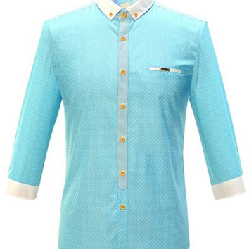 Color Splicing Button-Down Small Polka Dot Pattern Shirt