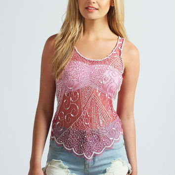Laura Beaded And Sequin Mesh Top