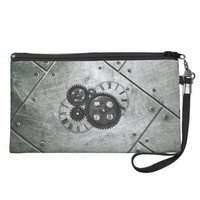 Grunge Steampunk Clocks and Gears Wristlet Clutch
