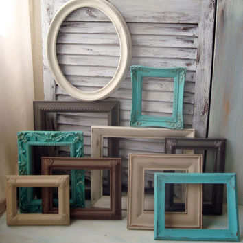 Beach Cottage Aqua, Gray, Cream, Tan, Set of 10 Painted Vintage Frames, Cottage Chic Frame Gallery,Ornate Frames, Up Cycled Picture Frames