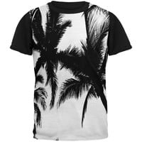 Black And White Palm Tree Silhouette Adult Black Back T-Shirt