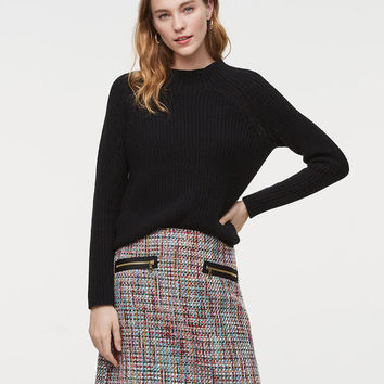 Zip Pocket Tweed Skirt | LOFT