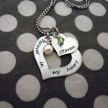 Handstamped Personalized Name Custom Open Heart by One27Designs