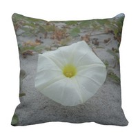 White Morning Glory on the Beach Pillow