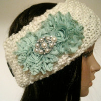Ivory Winter White Knit Ear Warmer Headband Head Wrap Winter Hats with Mint Green Chiffon Flower and a Gorgeous Pearl and Rhinestone Accent