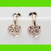 Golden Bow With Diamond Earrings