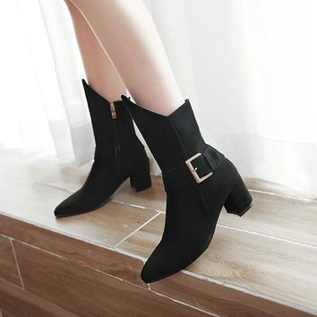 Solid Color Pointed Toe Hasp Low Chunky Heel Half Irregular Boots with Plus Size 48