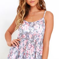 Heaven Only Rose Grey Floral Print Top