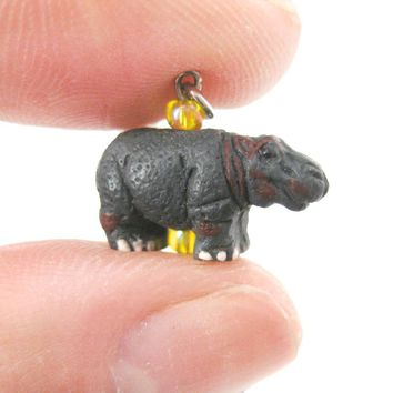 Hippo Hippopotamus Shaped Porcelain Ceramic Animal Dangle Earrings | Handmade