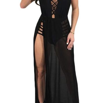 Sexy Mesh See Through Halter High Slit Maxi Dress