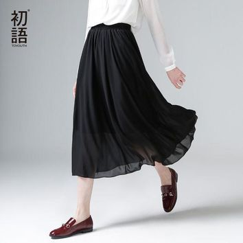 LMFET7 Toyouth 2017 New Arrival Spring Summer Elastic Waist Solid A-Line Chiffon Ankle-Length Peppy Women Skirts