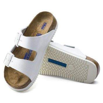 CREYNW6 Sale Birkenstock Arizona Soft Footbed Leather White 0230164/0230166 Sandals