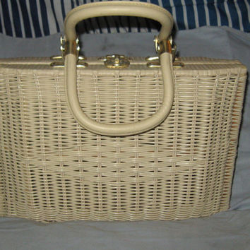 VINTAGE 1960s SIMON beige cream  Wicker Basket Handbag Purse