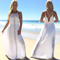 True Colors Embroider Maxi Dress
