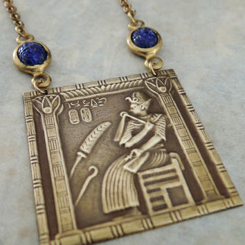 Vintage Necklace - Egyptian Necklace - Vintage Brass jewelry - Lapis Scarab Necklace - Egyptian Jewelry - Statement Necklace - handmade