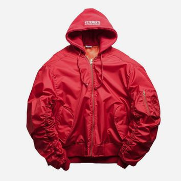 cc hcxx Red Bomber Jacket w/ Hoodie