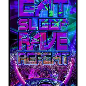 Eat Sleep Rave Repeat Blacklight Poster - Spencer's