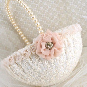 Flower Girl Basket Bridal Basket in Ivory and Blush Pink with Lace and Pearls- Vintage Touch