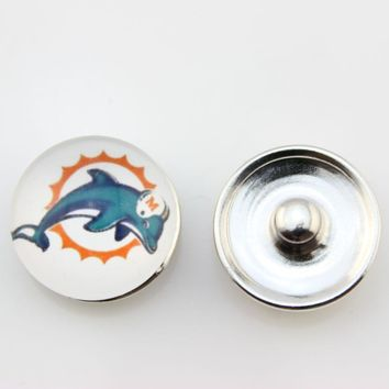 Miami Dolphins 18mm Glass Snap Button Jewelry USA Football Team Faceted Glass Snap Fit Snap Bracelet Fashion Snap Jewelry