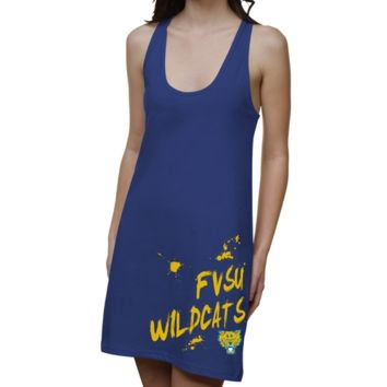 Fort Valley State Wildcats Ladies Paint Strokes Junior's Racerback Dress - Royal Blue