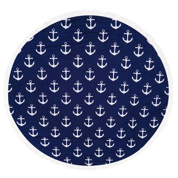 Mulit Color Anchor Pattern Round Beach Towel Mat General Merchandise