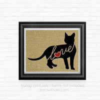 Bengal Cat Love - Burlap Printed Wall Art: Silhouette, Cats, Kittens, Kitten, Artwork, Rustic, Country, Typography, Cat Lover, Rescue