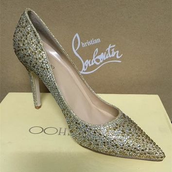 Jimmy Choo Women Fashion Rhinestone Pointed Toe Heels Shoes-1