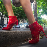 Cici Red Lace Booties