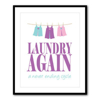 Laundry Room Wall Art - 8 x 10 (or larger) print - Laundry Again - a never ending cycle - vintage chalkboard distressed - clothesline