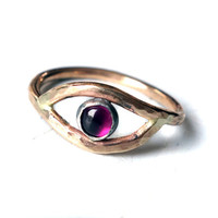 14k Gold Fill Ruby Eye Ring