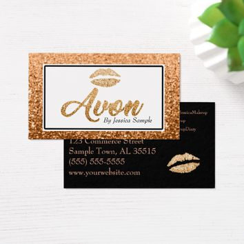 Avon Rose Gold Beauty Lips Business Card
