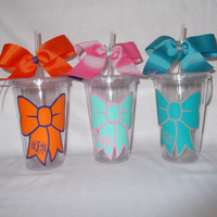 Monogrammed bow tumbler - 16 ounce cups personalized