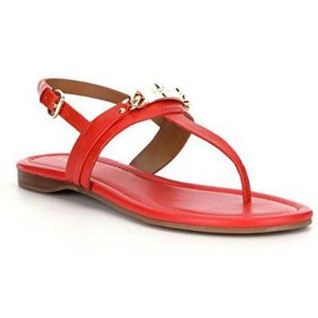 CREY3DS Coach Caterine Womens Leather Thong Sandals ... (7, Carmine)