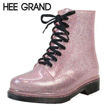HEE GRAND Rain Boots Glitter Platform Women Ankle Boots Winter Casual Shoes Woman Fashion Flats Shoes Size 36-40 XWX4356