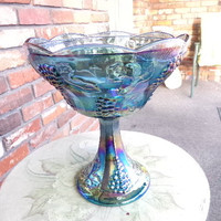 Vintage Iridescent Indiana Glass Blue Harvest Grape Pattern Footed bowl, gift for her, home décor, wedding present