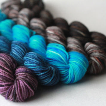 Swords - Mini Skein Set - Superwash Merino Nylon Sock Yarn Mini Skeins - five 96 yd skeins - total 480 yds