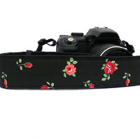 Floral Camera Strap.dSLR Camera Strap. Red and Black Camera Strap. Women accessories