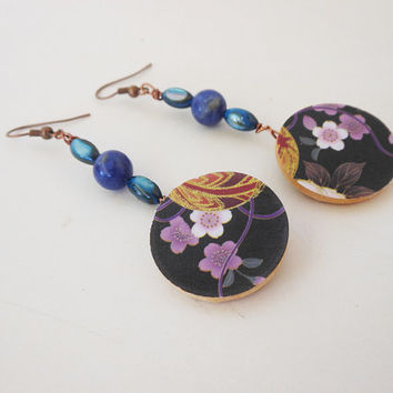 Asian Inspired Dangle Earrings - Handmade Wood and Paper Earrings - Japanese Inspired Jewelry - Large Dangle Earrings - Purple Flowers