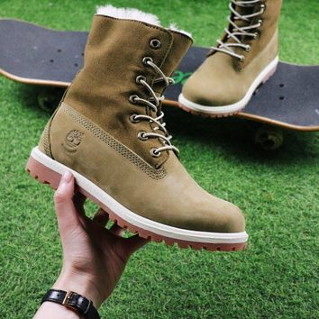 Timberland Authentics Waterproof Fold Down Shearling Army Green Mid Boots Outdoor Sneaker
