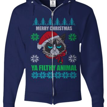 Merry Christmas Ya Filthy Animals Ugly Christmas Sweater Zip Hoodie