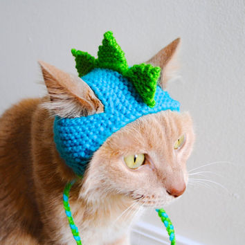 Dinosaur Cat Costume - Teal and Lime - Hand Knit Cat Hat - Cat Halloween Costume (READY TO SHIP)